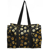 "NGIL All Purpose Organizer 18"" Large Utility Tote Bag Gold Puppy Paw"