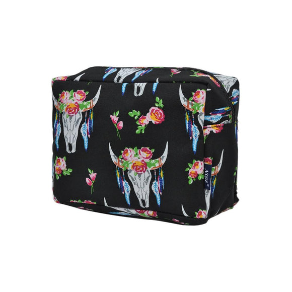 NGIL Large Travel Cosmetic Pouch Bag Bull Skull Black