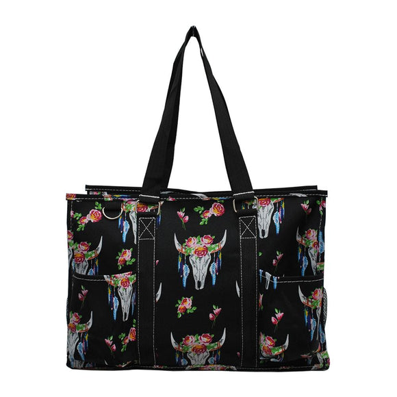NGIL All Purpose Organizer Medium Utility Tote Bag Bull Skull Black