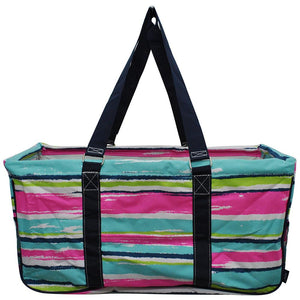 "NGIL All Purpose Open Top 23"" Classic Extra Large Utility Tote Bag Rainbow Stripe Navy"