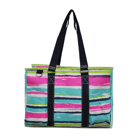 NGIL All Purpose Organizer Medium Utility Tote Bag Rainbow Stripe Navy
