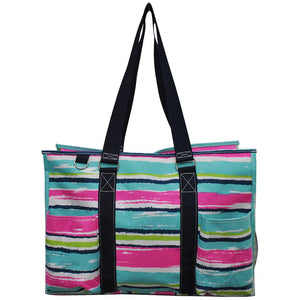 "NGIL All Purpose Organizer 18"" Large Utility Tote Bag Rainbow Stripe Navy"