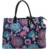 Extra Large Quilted Cotton Tote Bag Medievil Blossom Navy
