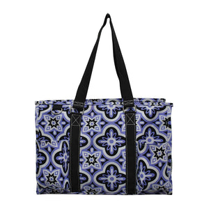 NGIL All Purpose Organizer Medium Utility Tote Bag Quatrefoil Paradise Black