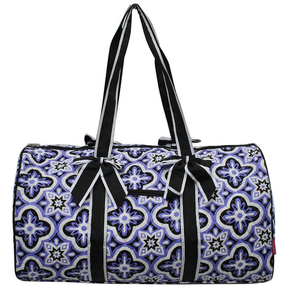 NGIL Quilted Cotton Large Duffle Bag Quatrefoil Paradise Purple Black