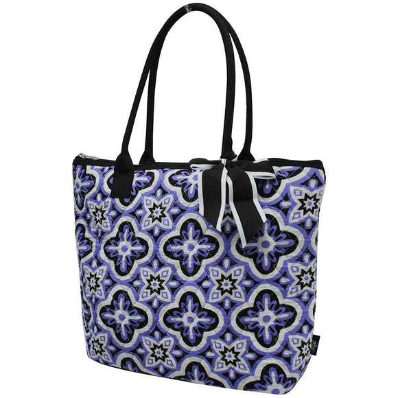 NGIL Quilted Medium Tote Bag Quatrefoil Paradise Black