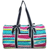 NGIL Quilted Cotton Large Duffle Bag Rainbow Stripe Navy