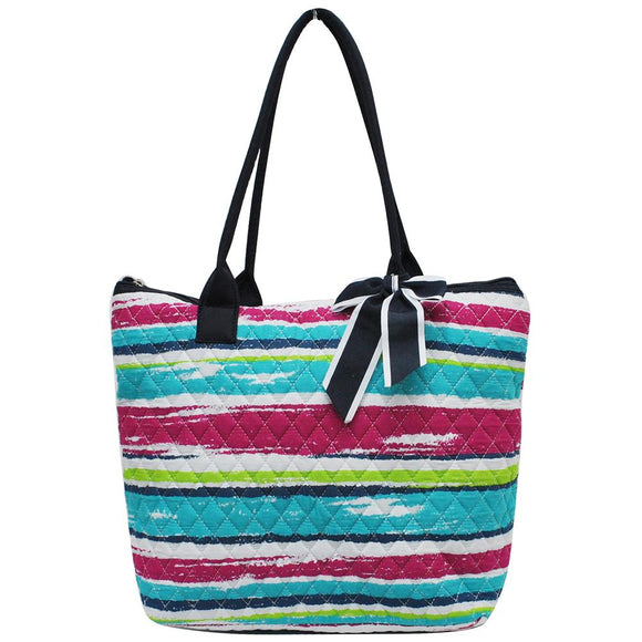 NGIL Quilted Medium Tote Bag Rainbow Stripe Navy