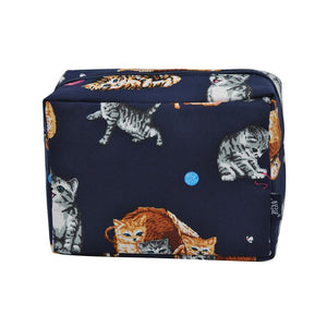 NGIL Large Travel Cosmetic Pouch Bag Kitten Navy