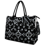 Extra Large Quilted Cotton Tote Bag Tribal Black White