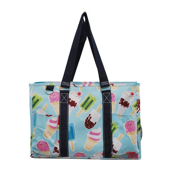 NGIL All Purpose Organizer Medium Utility Tote Bag Ice Cream Aqua Blue