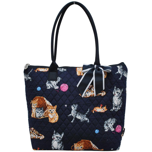 NGIL Quilted Medium Tote Bag Kitten Navy Blue
