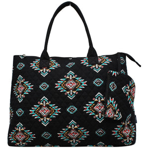 NGIL Extra Large Quilted Cotton Tote Bag Southern Tribe Black