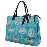 NGIL Extra Large Quilted Cotton Tote Bag Southern Aztec Serape Navy
