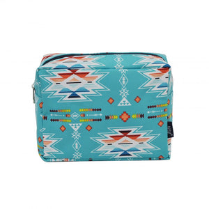 NGIL Large Travel Cosmetic Pouch Bag Southern Aztec Serape Navy