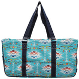 "NGIL All Purpose Open Top 23"" Classic Extra Large Utility Tote Bag South Aztec Serape Navy"