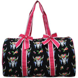 NGIL Quilted Cotton Large Duffle Bag Bull Skull Hot Pink