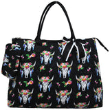 NGIL Extra Large Quilted Cotton Tote Bag Bull Skull