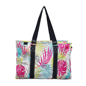 NGIL All Purpose Organizer Medium Utility Tote Bag Tropical Palm Leaf Navy