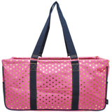 "NGIL All Purpose Open Top 23"" Classic Extra Large Utility Tote Bag Gold Polka Dot"