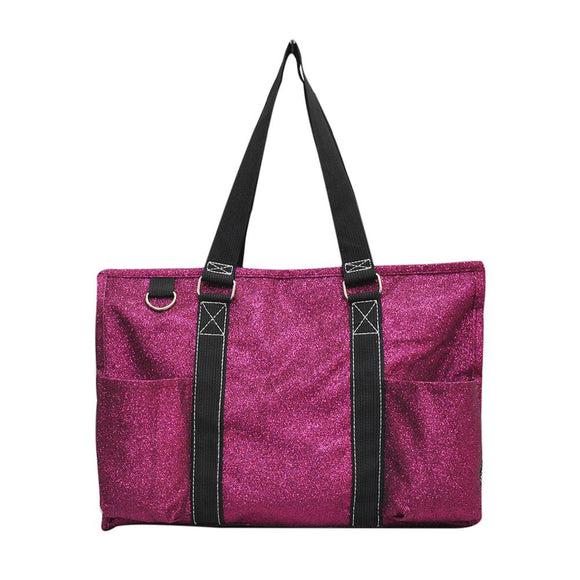 NGIL All Purpose Organizer Medium Utility Tote Bag Glitter Hot Pink