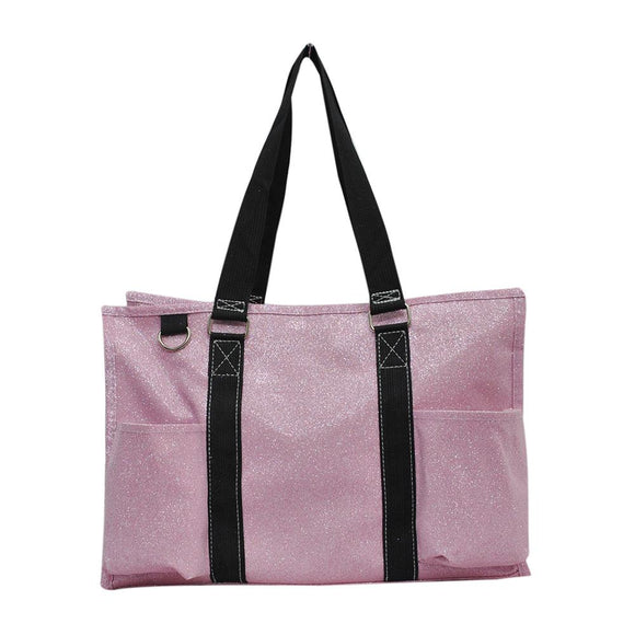 NGIL All Purpose Organizer Medium Utility Tote Bag Glitter Pink