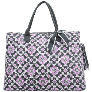 NGIL Extra Large Quilted Cotton Tote Bag Purple Quatro Vine Grey