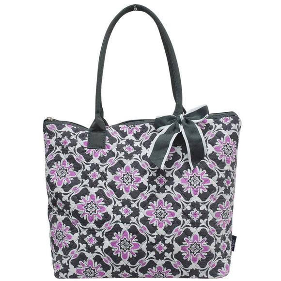 NGIL Quilted Medium Tote Bag Purple Quatro Vine
