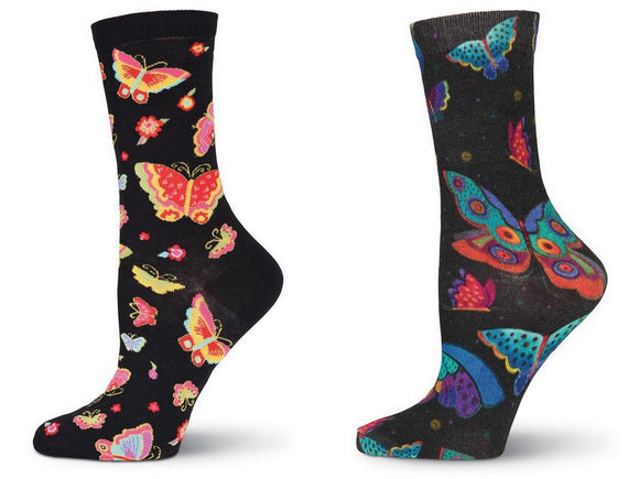 Laurel Burch Women's Crew Socks 2 Pair  Bundle (Butterflies, Flying Colors)