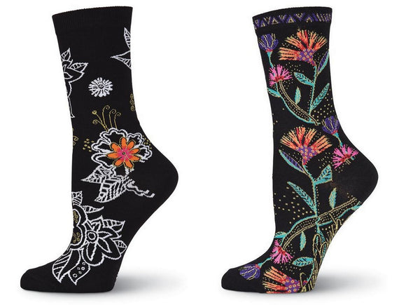 Laurel Burch Women's Crew Socks 2 Pair (Wild Flower, Black & White Floral)