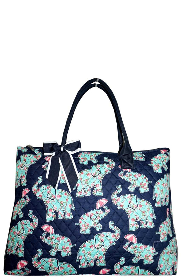 NGIL Extra Large Quilted Cotton Tote Bag Baby Elephant Navy