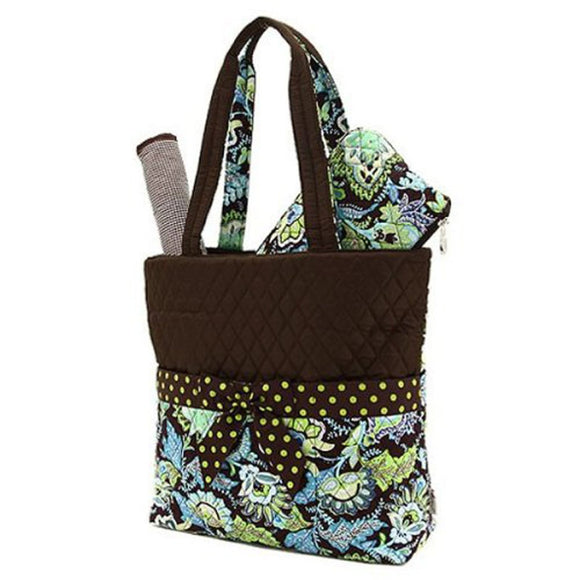 Belvah Quilted Floral 3pc Diaper Bag (Brown/ Lime)