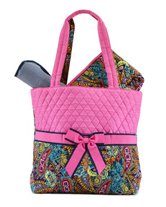 Belvah Quilted Multi Paisley 3pc. Diaper Tote Bag (Navy/Fuchsia)