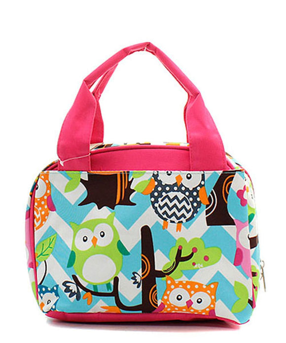 NGIL Insulated Lunch Bag Chevron Owl Aqua Hot Pink