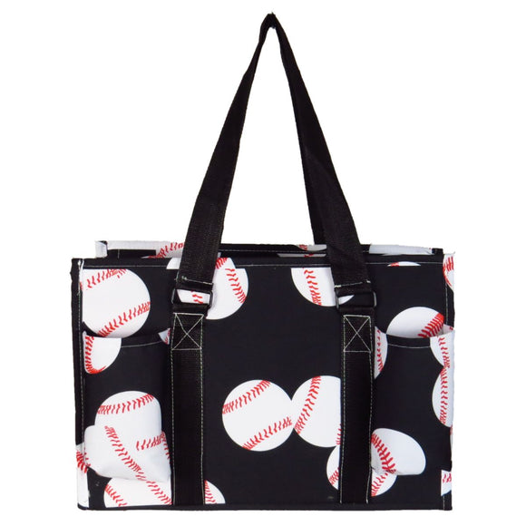 EGFAS All Purpose Organizer Medium Utility Tote Bag Baseball Black