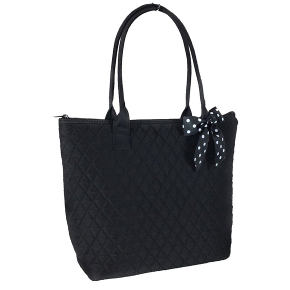 EGFAS Quilted Cotton Medium Tote Bag Solid with Polka Dot Bow