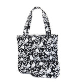 EGFAS Quilted Tote Bag with Pouch (Damask Black White)
