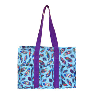 "EGFAS All Purpose 8 Pocket Organizer 18"" LARGE Utility Tote Bag Feather Purple"