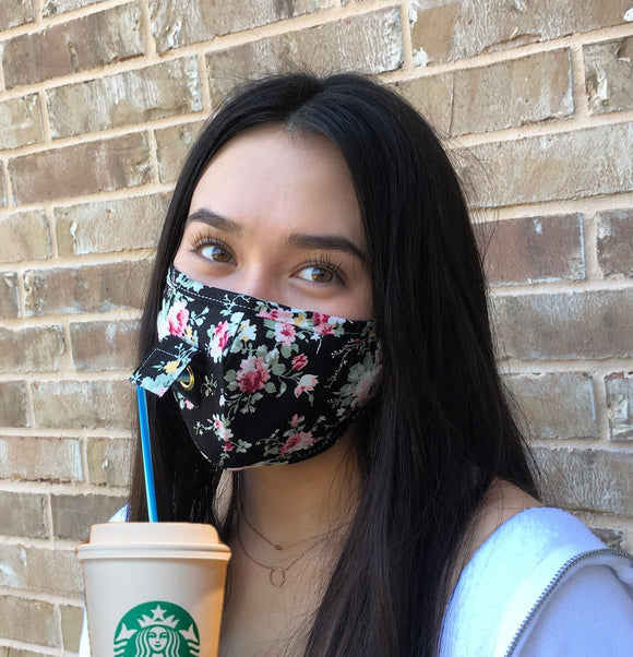 Straw Hole Face Mask, Mask with Straw Insert, Drinking Masks, Masks with straw hole, Straw Mask with Flap