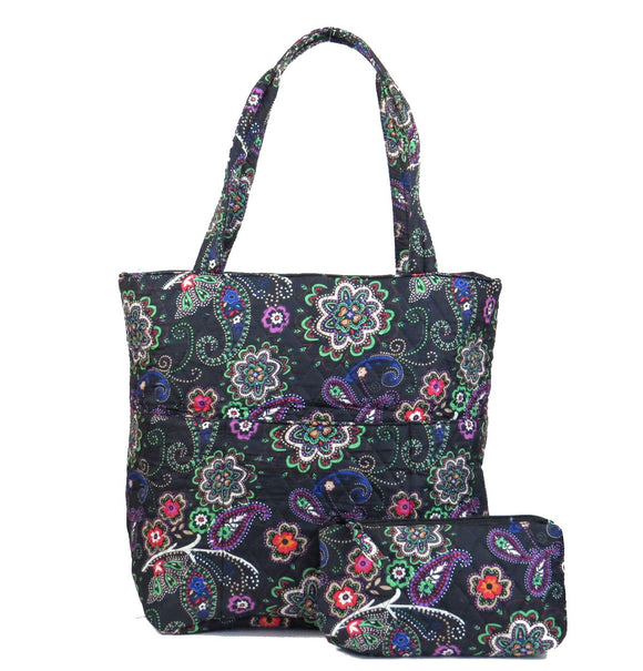 EGFAS Quilted Tote Bag with Pouch (Floral Black Green)