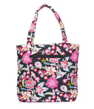 EGFAS Quilted Tote Bag with Pouch (Floral Black Multi)
