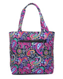 EGFAS Quilted Tote Bag with Pouch (Paisley Black Multi)
