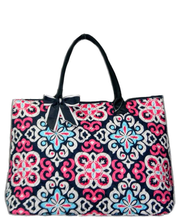NGIL Extra Large Quilted Cotton Tote Bag Geo Floral Navy