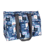 "EGFAS All Purpose 8 Pocket Organizer 18"" LARGE Utility Tote Bag Kitty Cats Grey"