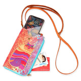 Laurel Burch Crossbody Cell Phone Purse Genuine Leather Adjustable Strap