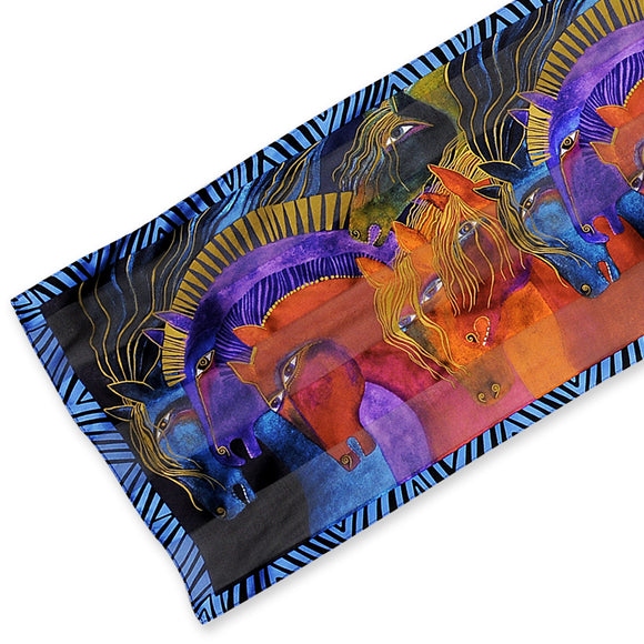 Laurel Burch Silk Scarf Wild Horses of Fire