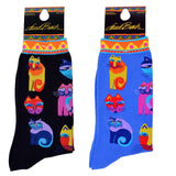 Laurel Burch Women's Crew Socks 2 Pair (Feline Festival Black & Blue)