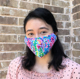 Fashion Cotton Face mask with filter pocket and nose wire, Floral Double Layer Face Mask, Washable Reusable Face Mask, Fast Ship from USA
