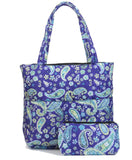 EGFAS Quilted Tote Bag with Pouch (Paisley Blue Purple)