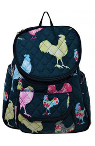NGIL Quilted Cotton Backpack Purse Rooster Navy